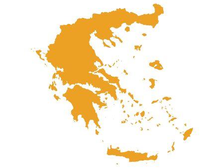 Orange flache Vektorkarte von Griechenland Vektorgrafik