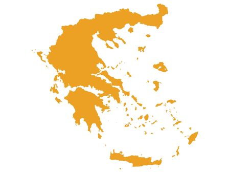 Orange Flat Vector Map of Greece Vector Illustration