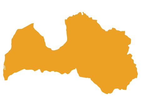 Orange Flat Vector Map of Latvia Illustration