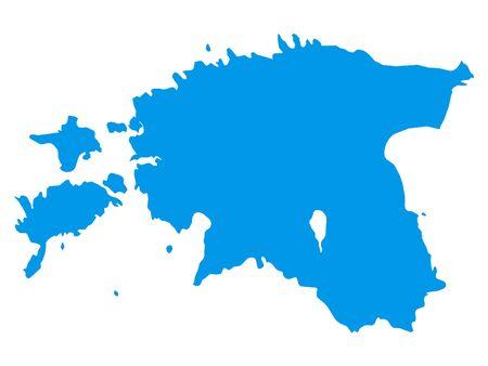 Blue Flat Vector Map of Estonia