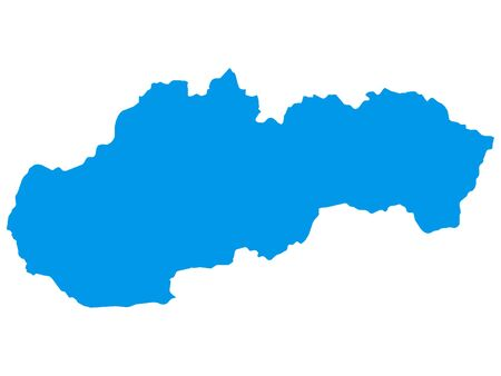 Blue Flat Vector Map of Slovakia