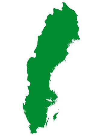 Green Flat Vector Map of Sweden