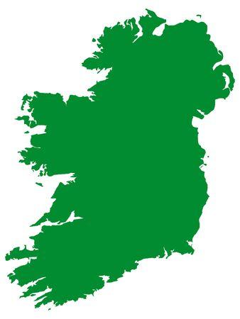 Green Flat Vector Map of Ireland