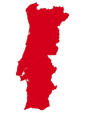 Red Flat Vector Map of Portugal