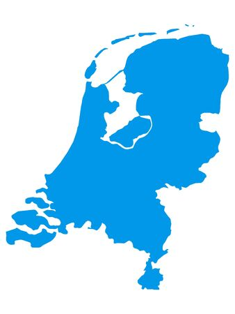 Blue Flat Vector Map of Netherlands