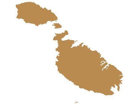 Brown Flat Vector Map of Malta Ilustração