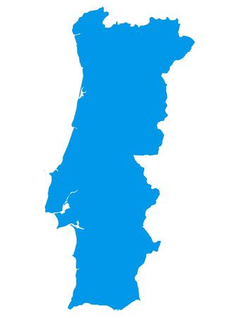 Blue Flat Vector Map of Portugal