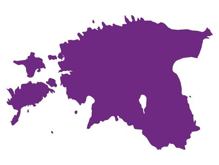 Purple Flat Vector Map of Estonia