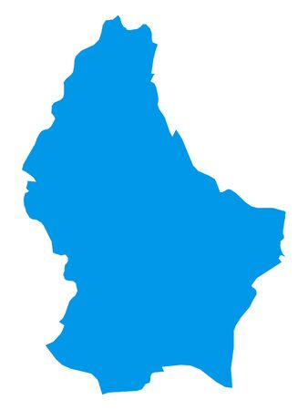 Blue Flat Vector Map of Luxembourg Vectores