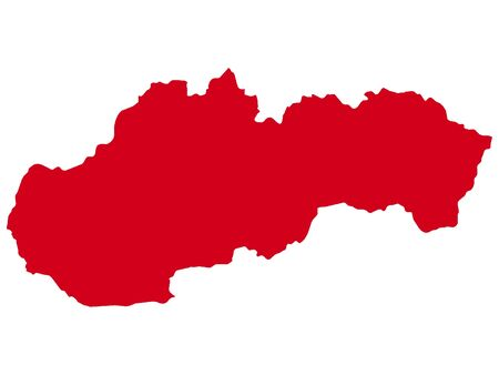 Red Flat Vector Map of Slovakia
