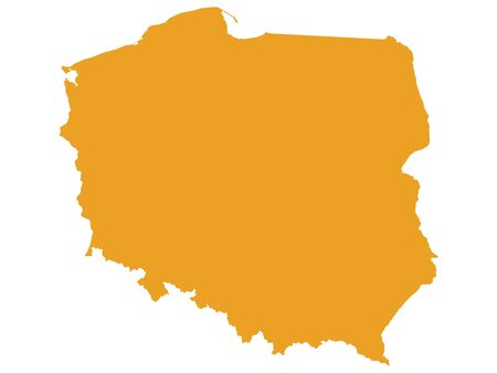 Orange Flat Vector Map of Poland Illusztráció