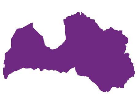 Purple Flat Vector Map of Latvia Illusztráció