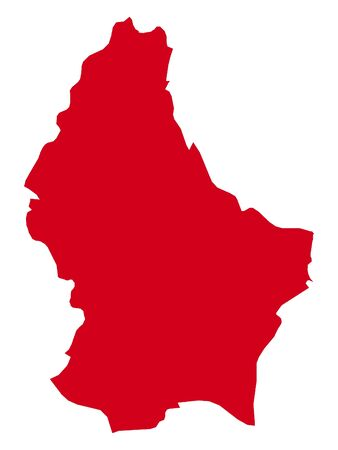 Red Flat Vector Map of Luxembourg