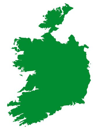Green Flat Vector Map of Republic of Ireland