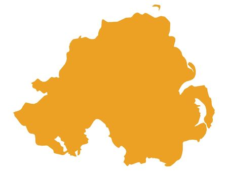 Orange Flat Vector Map of Northern Ireland Illustration