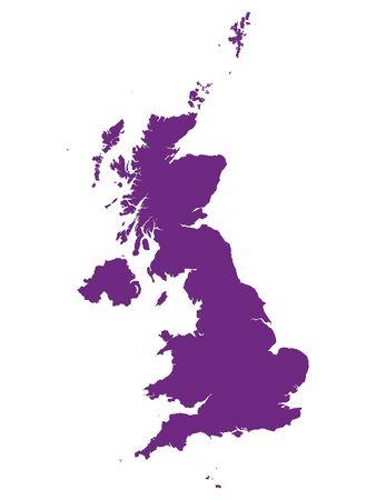 Purple Flat Vector Map of United Kingdom