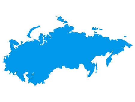 Blue Flat Vector Map of Soviet Union
