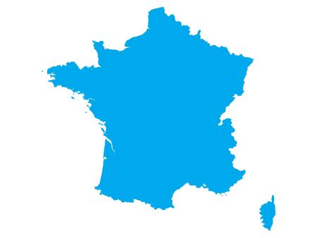 Blue Flat Vector Map of France Ilustrace