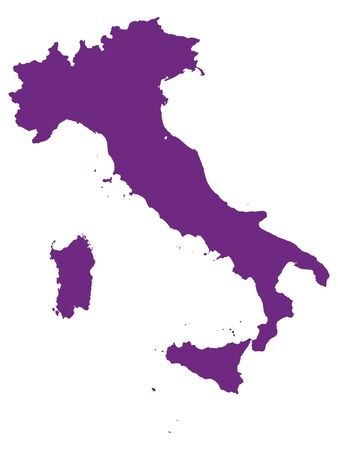 Purple Flat Vector Map of Italy
