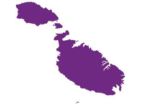 Purple Flat Vector Map of Malta Illusztráció