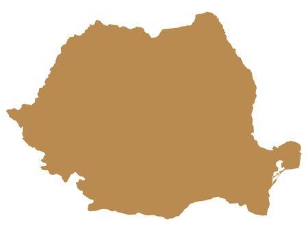 Brown Flat Vector Map of Romania Archivio Fotografico - 133680190