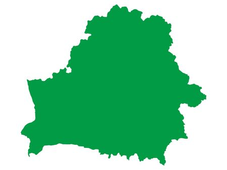 Green Flat Vector Map of Belarus Иллюстрация