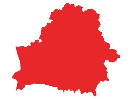 Red Flat Vector Map of Belarus