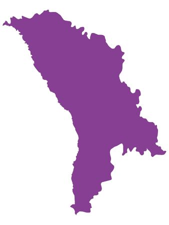 Purple Flat Vector Map of Moldova Иллюстрация