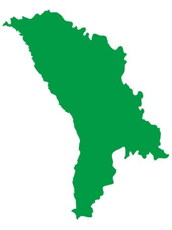 Green Flat Vector Map of Moldova