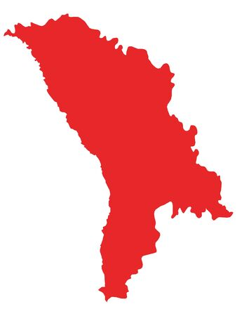 Red Flat Vector Map of Moldova