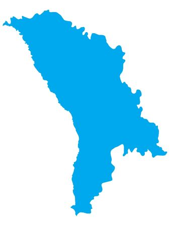 Blue Flat Vector Map of Moldova