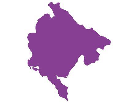 Purple Flat Vector Map of Montenegro