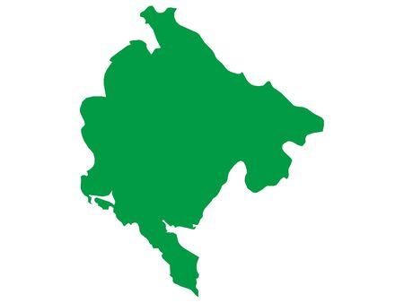 Green Flat Vector Map of Montenegro