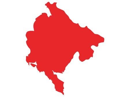Red Flat Vector Map of Montenegro
