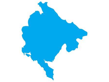 Blue Flat Vector Map of Montenegro