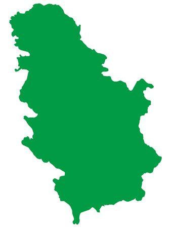 Green Flat Vector Map of Serbia Vector Illustration