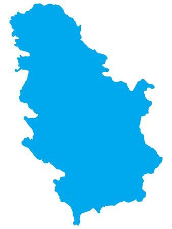 Blue Flat Vector Map of Serbia