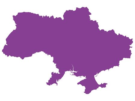 Purple Flat Vector Map of Ukraine