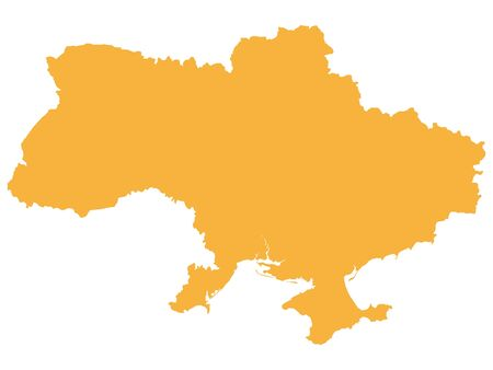 Carte vectorielle plate orange de l'Ukraine