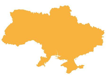 Orange flache Vektorkarte der Ukraine