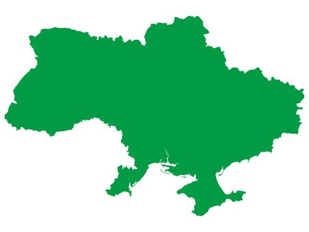 Green Flat Vector Map of Ukraine Иллюстрация