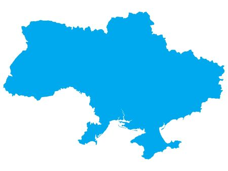 Blue Flat Vector Map of Ukraine
