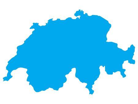Blue Flat Vector Map of Switzerland Vectores