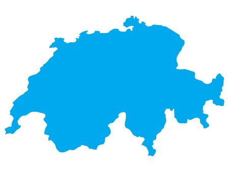 Blue Flat Vector Map of Switzerland Illustration
