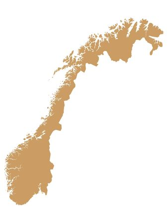 Brown Flat Vector Map of Norway