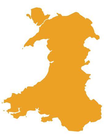 Orange Flat Vector Map of Wales