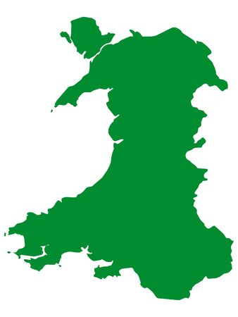 Green Flat Vector Map of Wales