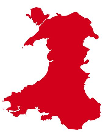 Red Flat Vector Map of Wales