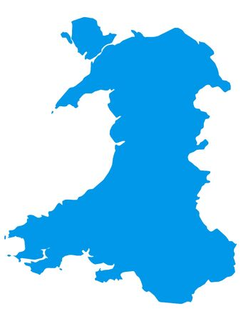 Blue Flat Vector Map of Wales