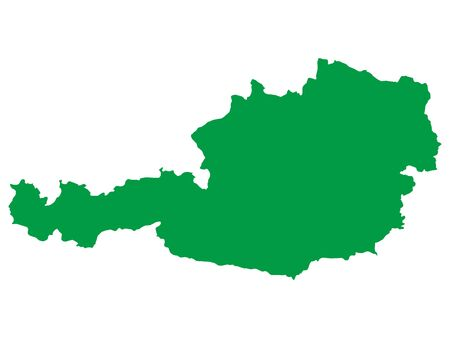Green Flat Vector Map of Austria